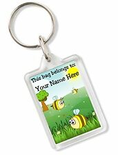 Personalised Kids Childs School Bag Tag Animal Keyring With Bee AK80