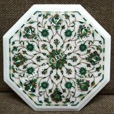 """12"""" Marble Small Coffee Table Top Malachit Inlay Floral Garden Decor Furniture"""