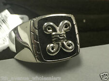 JOHN HARDY DAYAK SILVER SIGNET 18X18MM RING WITH BLK VOLCANIC CUSHION SIZE 11