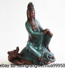 Chinese Bronze Copper Kwan-yin Guanyin Buddha Ride Dragon Turtle Tortoise Statue