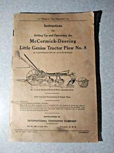 1935 International Harvester McCormick Deering Little Genius Tractor No 8 Manual
