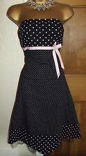 GORGEOUS❤ JANE NORMAN STRAPLESS PINK BLACK POLKA DOT SWING DRESS SIZE 10 - 12