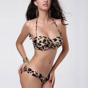 Leopard Prints Push-up Underwire Strapless Halter Hipkini Swimwear sw3005
