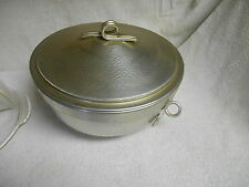 NICE NASCO HAMMERED ALUMINUM SERVING DISH W/ FIRE KING DIVIDED GLASS 2 QT BOWL