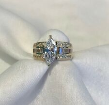 14k Yellow Gold Marquise Cubic Zirconia Ring Size 6.75