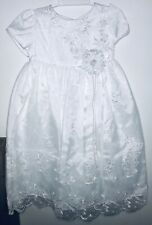 Kid Collection ~ White Embroidered Christening Baptism Gown w/ Bonnet ~ Size L