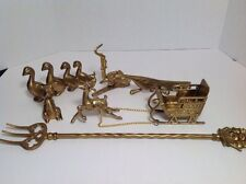 6 Pieces Brass Figurine Lot Toasting Fork Ship Mouse Ducks Peacock Reindeer More