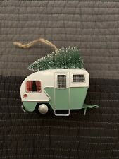New Pottery Barn Camper With Tree Ornament Green/White