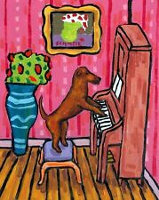 irish terrier playing piano dog art print 8x10 gift gifts modern