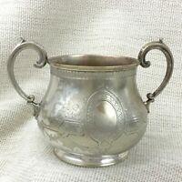 Argent Antique Plaqué Bol Double à Poignées Pot Urne Bouquet Vase Martin Hall
