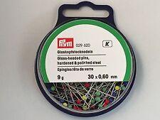 Prym Glass Headed Pins 30 mm X 0.6mm X 9 Gram Tub