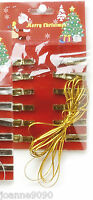 FESTIVE METALIC CHRISTMAS CLIP PEG CARD HOLDER WITH  12 METALLIC PEGS AND STRING