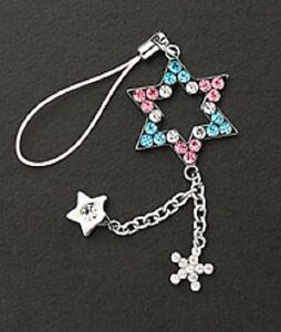 Cell Phone Charm Strap Pink & Blue Crystal Star Christmas Gift Silver Plated