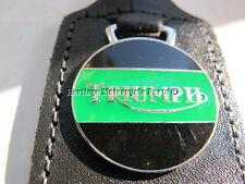 new TRIUMPH black / green enamel KEYRING black leather KEY FOB key ring English