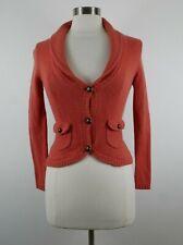 Atl Studio Womens Wool Angora Cashmere Ls 3 Button Peach Cardigan Sweater Pxs