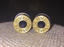 Federal 38 Special Brass Bullet Casing Stud Earrings With Dark Blue Crystal