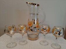 Vintage Martini Cocktail Pitcher w/ Gold & 4 Stemmed Glasses Handpainted Flowers