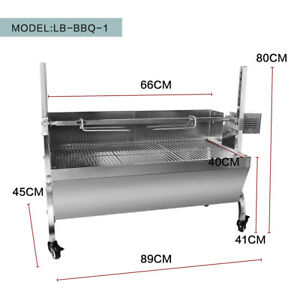 Stainless Steel Hog Roast Spit Roast Machine Rotisserie Charcoal  Lenght 66CM
