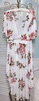 NEW ~ M Medium Ivory Pink Mesh Floral Boho Long Maxi Kimono Duster