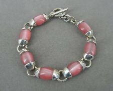 Pink Cat Eye Look Stones Sterling 925 Silver Mexico Link Bracelet