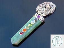 Verde Jade 7 Chakra plana 50 Cm Collar Colgante de piedras preciosas naturales Piedra de Curación
