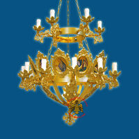 Orthodox Sepulchral Or Processional Lantern Gold Plated Prozessionslaterne