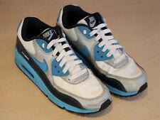 Nike Air Max 90 - White/Vivid Blue-Obsidian-Metallic Silver - UK Size 4.5 - VGC
