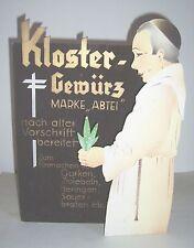Alter 3 D Pappaufsteller Kloster Gewürz zum Einmachen Mönch um 1930 / 40 !