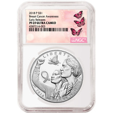 2018-P Proof $1 Breast Cancer Awareness Silver Dollar NGC PF69UC ER Label