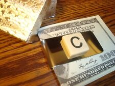 """"""" C """" MONOGRAM INITIAL faux Ivory Stainless Steel-Metal Money Clip wGift Box"""