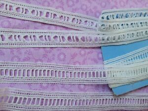 """2 French Antique Lace Valencienne Trim 3 yards cotton .75"""" slotted beaded"""