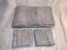 Restoration Hardware Palmette Embroidered Linen Full Queen Duvet Cover Set Fog