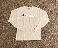 Champion Mens T-Shirt Medium White Spell Out Script Graphic Logo Long Sleeve