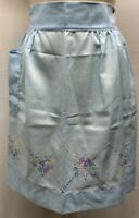 MCM 40s - 60s  Vintage  Apron Embroidered Half Blue Crossstitch Argyle