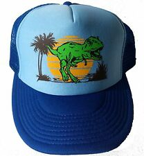 Dinosaur Dino Sunset  Snapback Mesh Trucker Hat Cap Powder Blue