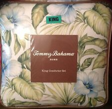 Tommy Bahama Alba Botanical  King 4pc Comforter Set blue shams skirt Tropical