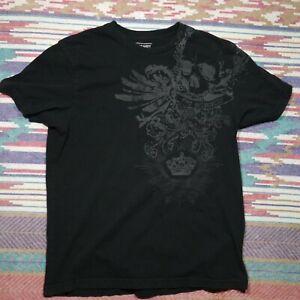 Old Navy Skull Shirt Adult Large Black Tattoo Black & Grey Crown Filigree Mens