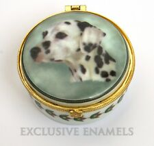 More details for alastor enamels dalmatian dog round hinged china trinket box