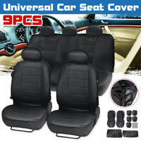 9pcs PU Leather Car SUV Seat Cover Front Rear Full Set Cushion Protector 5 Seats