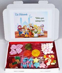Personalised Eid Ramadan Islamic Halal Sweets Box Gift Hamper for Kids Boy Girl