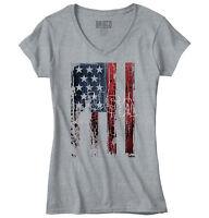 USA United States of America Flag Patriotic Junior V-Neck T-Shirts Tee Tshirts