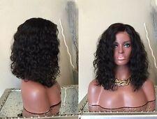 "14"" #1B 6A Brazilian Virgin Water Wave 150% Density Lace Front Wig"