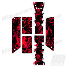 Traxxas E-Maxx - Chassis Plate + Skid Protector Decals - Red Flames TRA3922A
