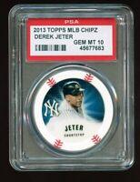 2013 Topps MLB Chipz Derek Jeter PSA 10 GEM POP 2 Oddball Poker Chip~Yankees HOF
