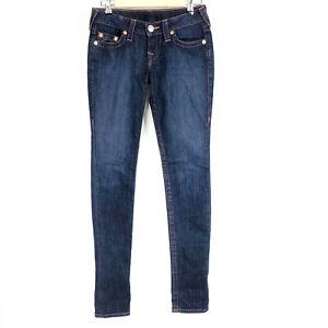 True Religion Womens Jeans 26 Skinny Low Rise Stretch Blue Pink Denim Pants