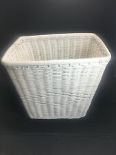 Vtg White Wicker~Waste Paper Basket~Shabby Chic~Beach House~Trash Can~10