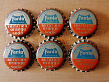 6 Fanta Orange cork lined Soda Bottle Caps Unused Unpressed Resealable