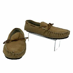 Minnetonka Casey Suede Slippers Men's Size 12 M Cinnamon Brown Slip On Moccasin