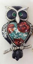 New Antique Style Black Purdue Night Owl Wisdom Feminity Bird Brooch Pin BR1110A