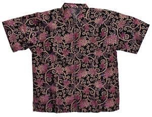 New Men Fashion Indonesian Batik Short Sleeve Shirt Size XL